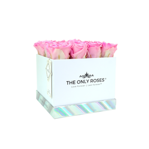 Pink Preserved Roses | Square White Huggy Rose Box - The Only Roses
