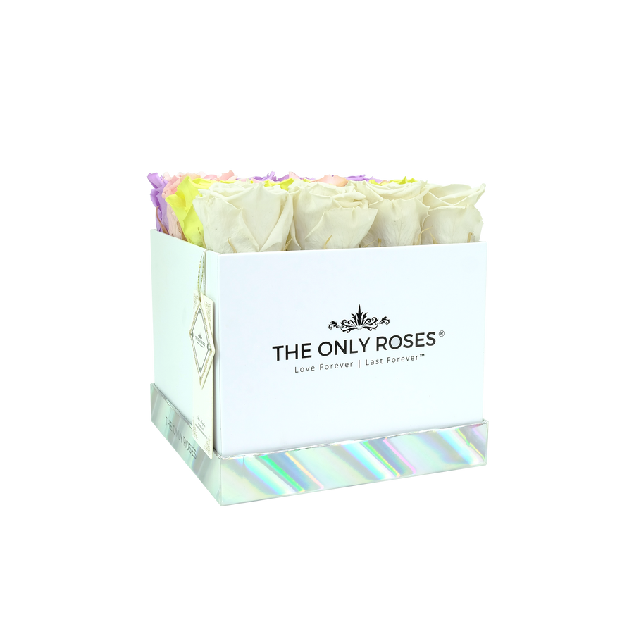 Fading Color Preserved Roses | Square White Huggy Rose Box - The Only Roses