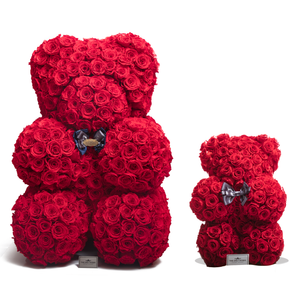 35 Inches Tall Giant Red Preserved Rose Bear - The Only Roses