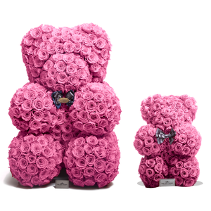 35 Inches Tall Giant Pink Preserved Rose Bear | Local Delivery/Pickup Only - The Only Roses