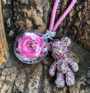 Pink Preserved Rose | Pink Crystal Rose Bear Keychain - The Only Roses