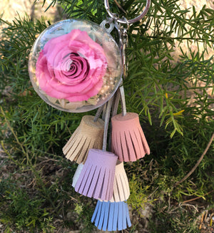 Pink Preserved Rose | Colorful Blush Tassel Keychain - The Only Roses