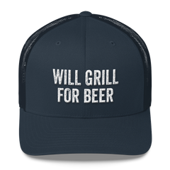 Will Grill For Beer Trucker Cap
