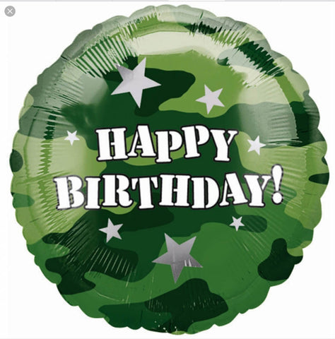 Military Happy Birthday - Green with Stars
