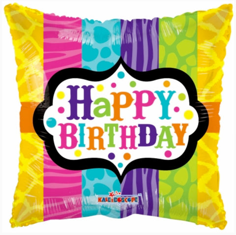 Happy Birthday - Square - Pink, Blue, Purple, Green, Yellow