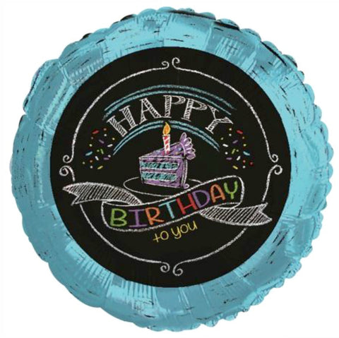 Happy Birthday - Teal Blue with Chalkboard Writing