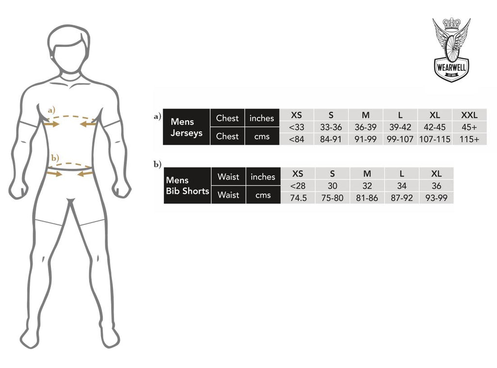 Wearwell Cycle Company Size Guide Jerseys and Bib-shorts