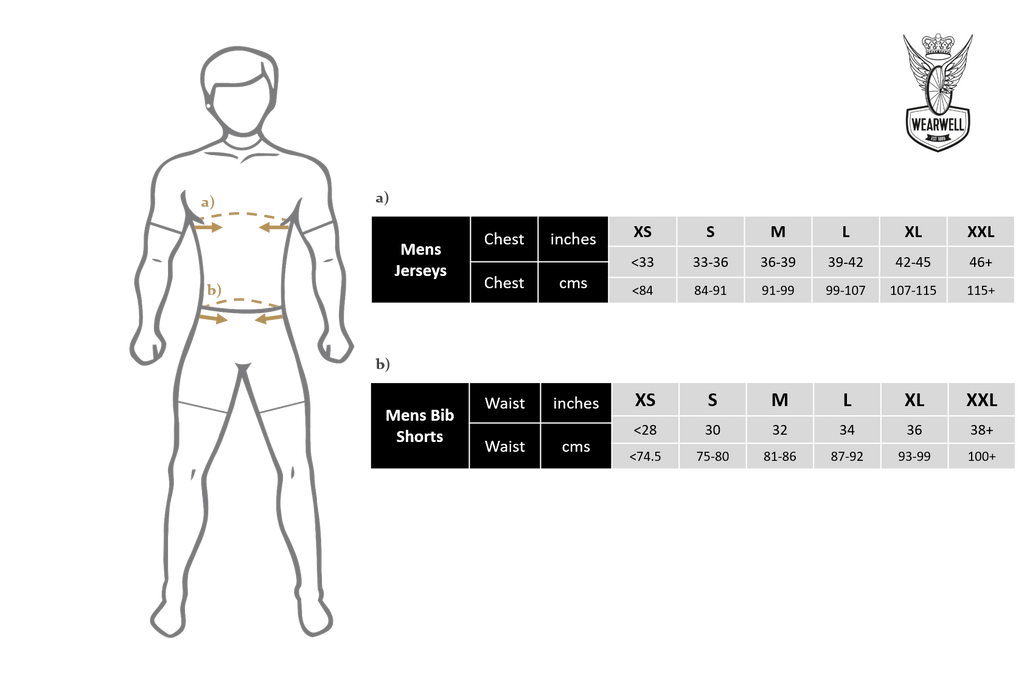 Wearwell Cycle Company Size Guide