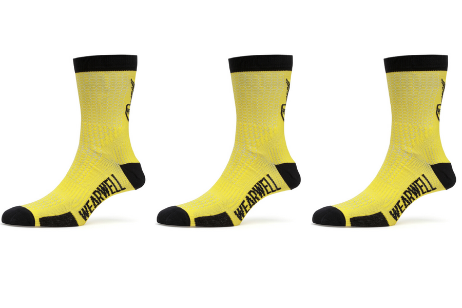 Yellow Cycling Sock Bundle x 3 - Revival Collection - Wearwell Cycle Company