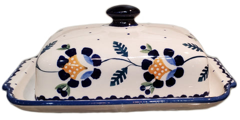 Traditional Butter dish in Blue Daisy pattern