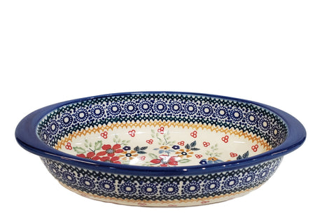 "7.5"" Oval Baking Dish in Signed Summer Garden pattern."