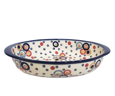 "23 cm / 9"" Oval Baking Dish in Unikat Happy Bubble pattern."
