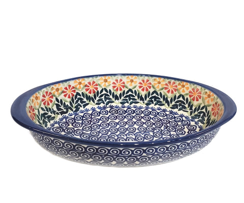 "9"" Oval Baking Dish in Spring Morning pattern."