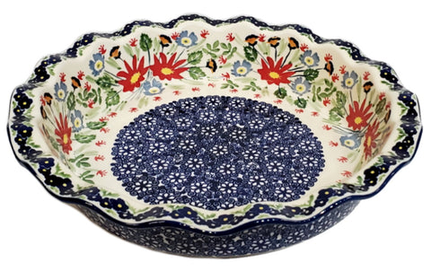 "9"" Fluted Pie Dish in Signed Wild Flowers pattern."
