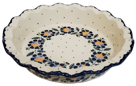 "9"" Fluted Pie Dish in Blue Daisy pattern."