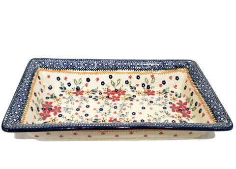 "13.5"" Rectangular Platter in Summer Garden pattern"
