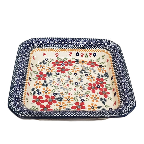 "7.75"" Square Platter in Summer Garden pattern"
