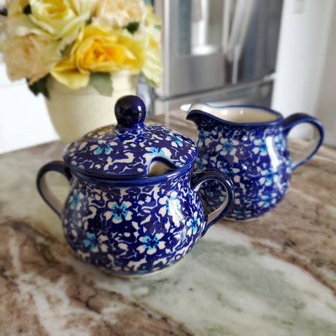 Sugar bowl and creamer set in Floral Fantasy pattern