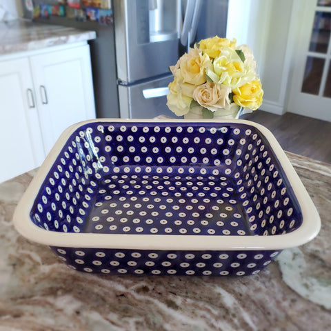 "26cm / 10"" Square baker in Polka Dot pattern"