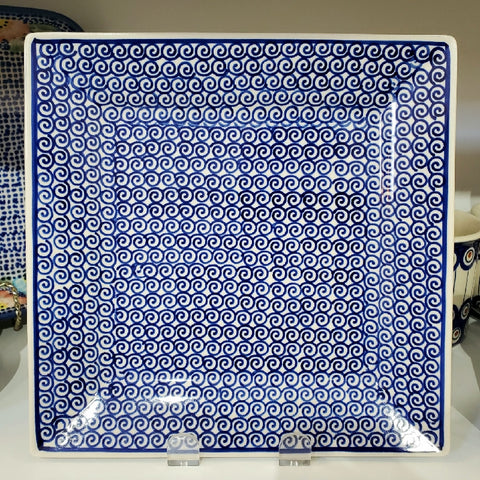 23 cm Square Platter in Blue Swirl pattern