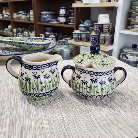 Sugar Bowl and Creamer set in Dancing Garden pattern
