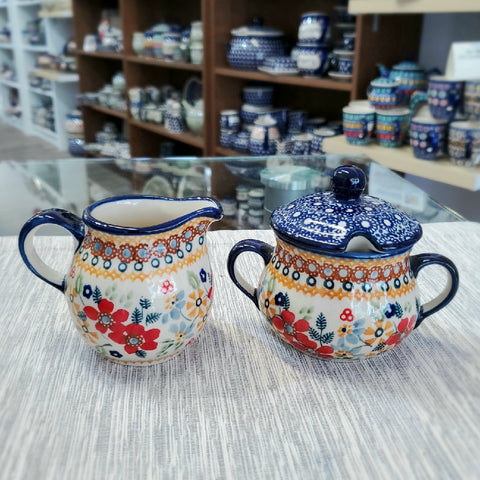 Sugar Bowl and Creamer set in Signed Summer Garden pattern