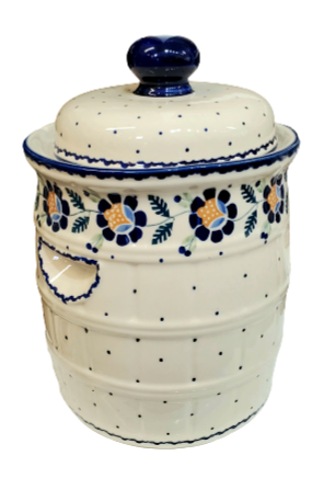 7L Sauerkraut Crock Pot in Blue Daisy pattern