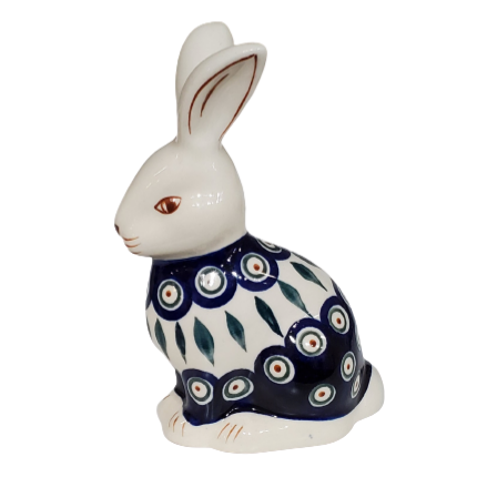 Bunny Rabbit figurine in Peacock pattern