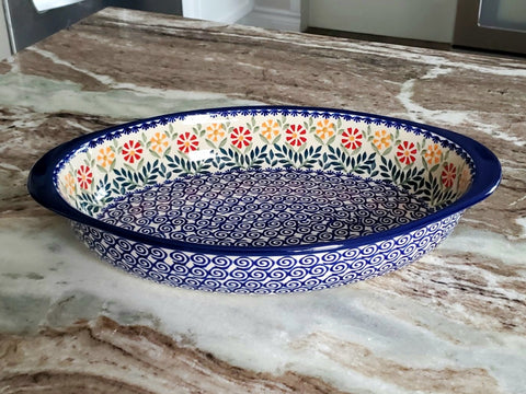 "30 cm / 11.75"" Oval Baking Dish in Spring Morning pattern"