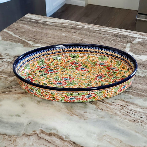 "32cm / 12.5"" Oval Baking Dish in a Signed pattern"