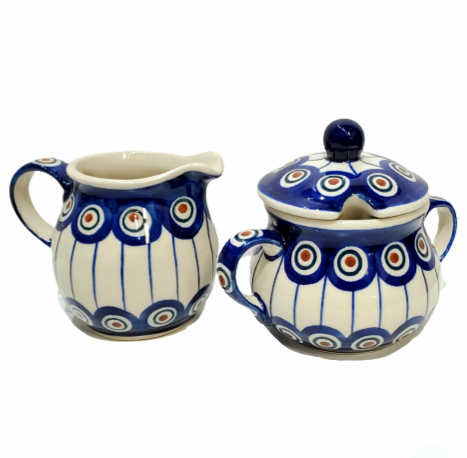 Sugar Bowl and Creamer set in Peacock pattern