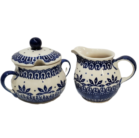 Sugar Bowl and Creamer set in Blue on White pattern