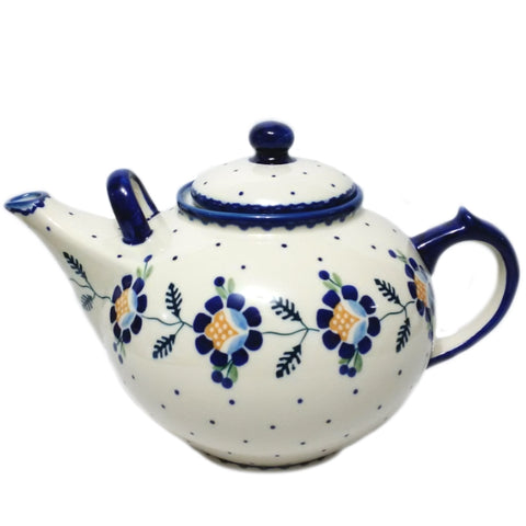 Large 3L Teapot in Blue Daisy pattern