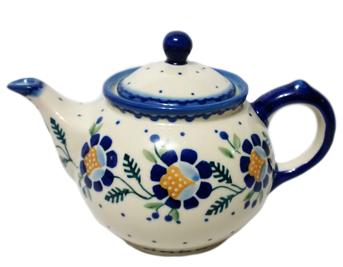 Morning teapot in Blue Daisy pattern