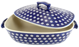 Covered casserole in Polka Dot pattern.