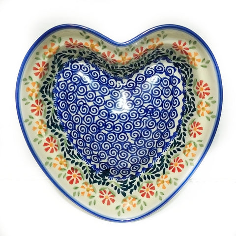 Heart shaped Bowl / Baker in Spring Morning pattern