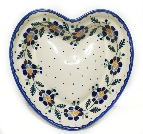 Heart shaped Bowl / Baker in Blue Daisy pattern