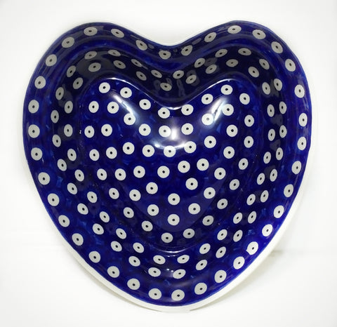 Heart shaped Bowl / Baker in Polka Dot pattern