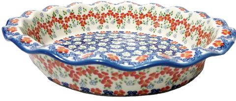 Fluted pie dish in Unikat Poppy Meadow pattern.