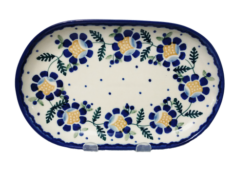 "Oval Platter 9.25"" in Blue Daisy pattern"