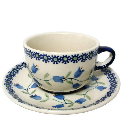 Teacup w/saucer in Trailing Lily pattern