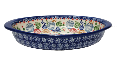 "7.5"" Oval Baking Dish in Signed Summer Berries pattern."