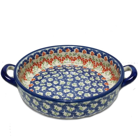"9"" Round Baker w/handles in Unikat Poppy Meadow pattern."