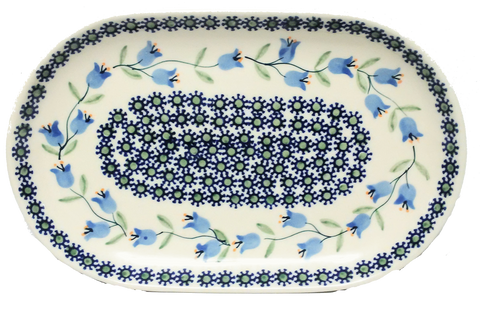 "Oval Platter 9.25"" in Trailing Lily pattern"