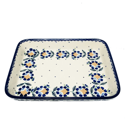 "11"" Baking dish in Blue Daisy pattern."