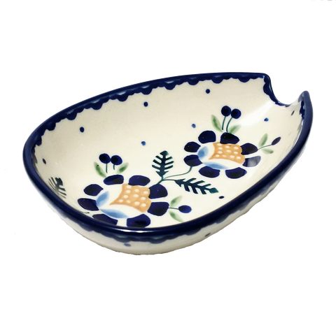 Spoon rest in Blue Daisy pattern