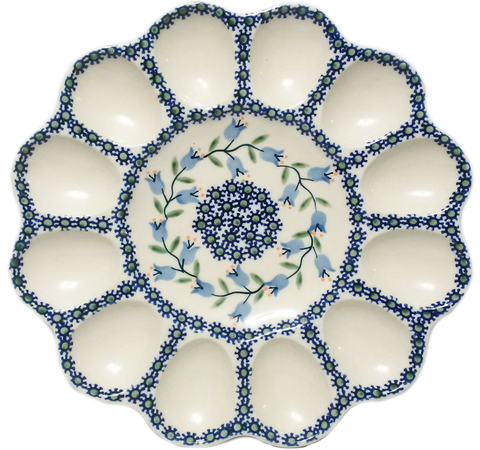 "10"" Deviled egg platter in Trailing Lily pattern"