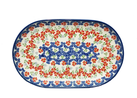 "Oval Platter 9.25"" in Unikat Poppy Meadow pattern"