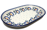 "12.75"" Oval Platter in Blue Daisy pattern"