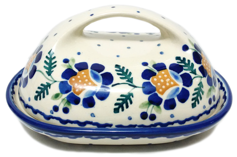 Butter dish in Blue Daisy pattern